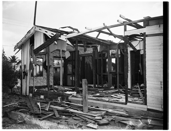 Half of house stolen... Condemmed house sold at auction, at 11415 Success Avenue, carried away... only frame and garage left, 1951