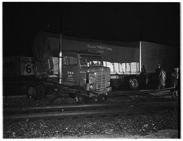 Truck versus railroad... Pacific Electric Lines... San Fernando Road, near Huron Street, 1951