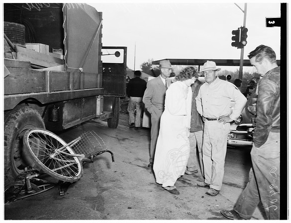 Traffic accident (Kester Avenue and Magnolia Boulevard, Van Nuys) bicycle versus truck, 1951