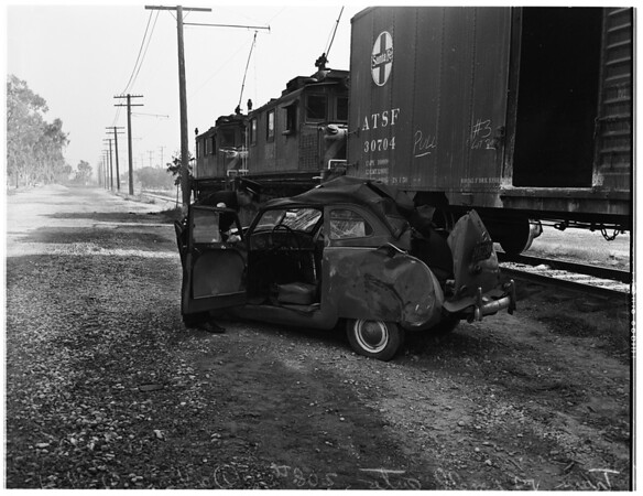 Train and auto wreck... 208th Street and Denker Street, 1951