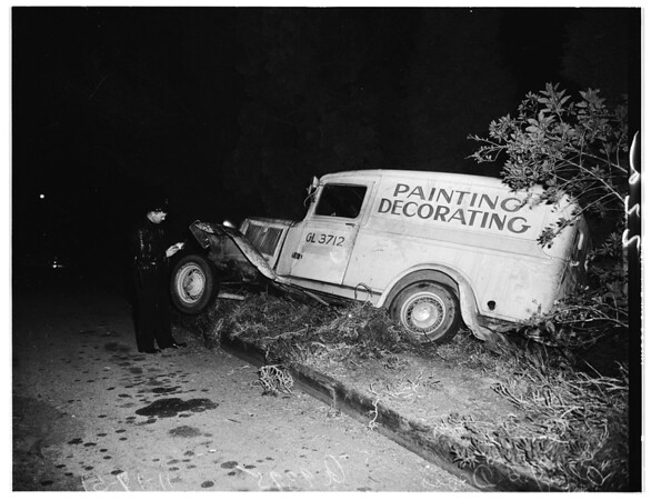 Auto near cliff... collision with truck, 1951