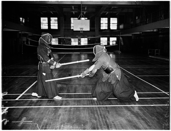 """Japanese """"Kendo"""" fencing, 1951"""