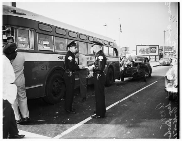 Collision... bus versus autos... San Pedro Street and East Manchester Avenue, 1951