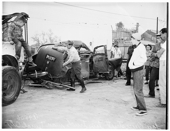 Accident ...Auto versus train ...north of Temple City, 1951