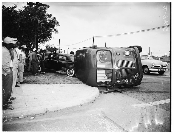 Traffic accident (auto versus truck), 1951
