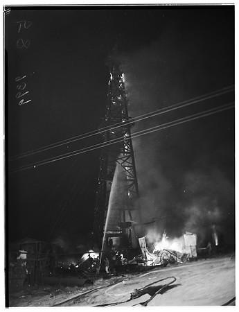 Signal Hill oil fire ...23rd Street and Junipero Avenue, 1951