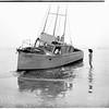 Fishing boat ashore, 1951