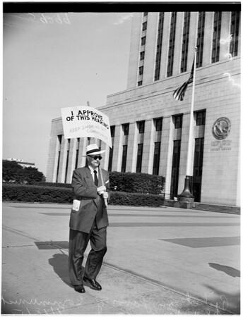 Picket in Favor of Communist Hearing, 1951