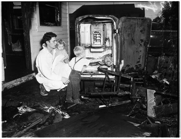 Baby burned in fire, 1951