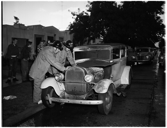 Babies burned...rescued from auto, 1951