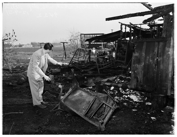 Fire and death at 1208 North Chico Avenue, El Monte...Ben Ligon (Not in Picture), 60, found crumpled under kerosene stove, 1951