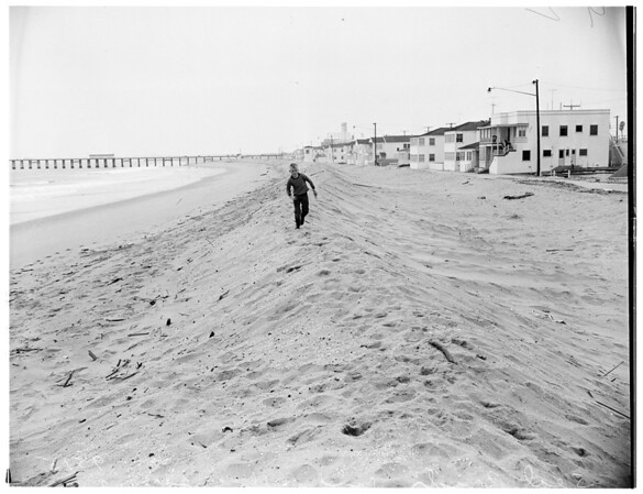 Seal Beach sand walls ...Double rows of sand bbarricade beach apartment houses from threatening sea, but hide view ...Beach is getting narrower year by year from erosion, 1952