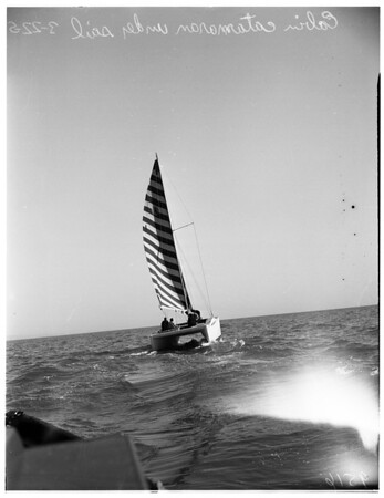 Cabin catamaran launched (Santa Monica pier), 1952