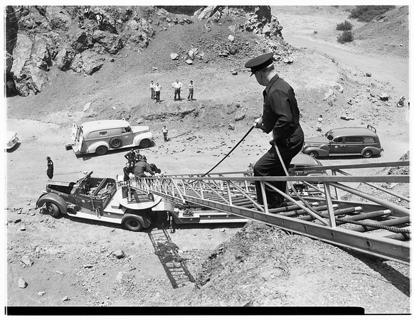 Girl falls down cliff Canyon Drive, Bronson Canyon, 1952.