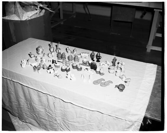 Salt and pepper shakers for hobby show in Shrine Auditorium, 1952