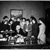 Girls' Week group visits mayor, 1952