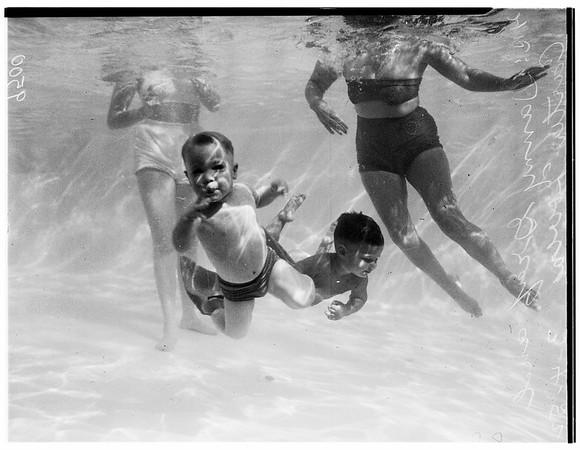 Swim school with underwater window, 1952