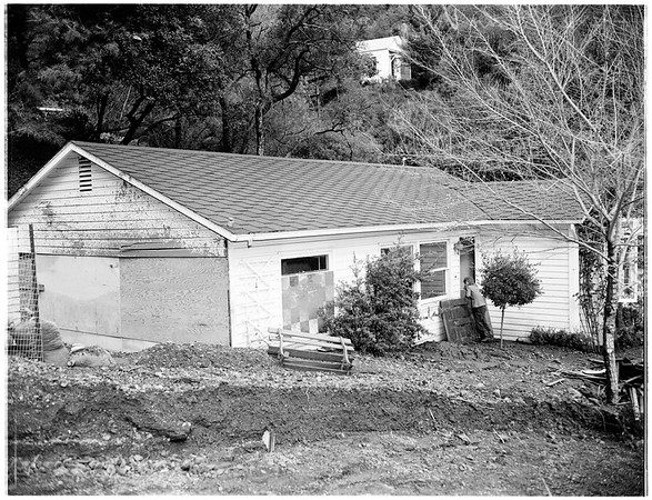 Rain damage, Benedict Canyon Drive and Beverly Glen Boulevard, 1952