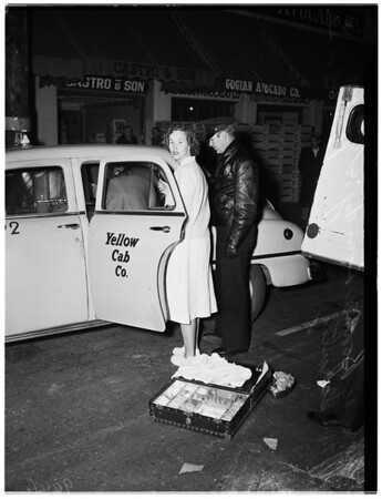 Baby born in taxi in front of 1017 South San Pedro Street, 1952