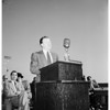 Walter P. Reuther speaking to Long Beach Douglas Aircraft workers at Veterans Memorial Stadium, 1952