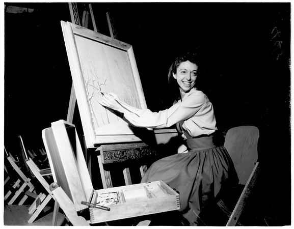 Handicapped artist in her Hollywood studio, 1952