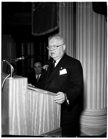 Rotary Club speaker, at Biltmore Hotel, 1952