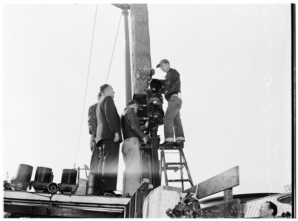 New air raid sirens ...Wilshire Boulevard and Western Avenue, 1952