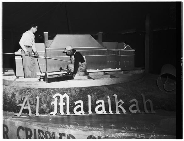 Rose Parade floats (Al Malaikah Temple showing Shrine Children's Hospital), 1951