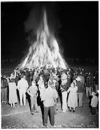 Christmas trees in bonfire, 1952