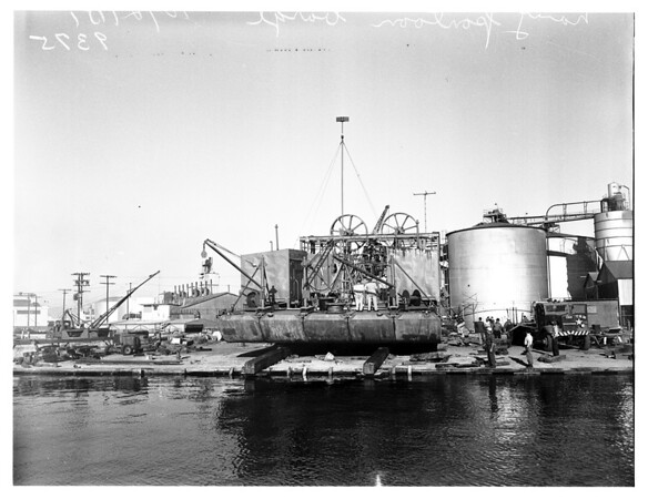 Weapons ...Mystery Barge and Secret Navy Weapon, Wilmington Harbor, 1951