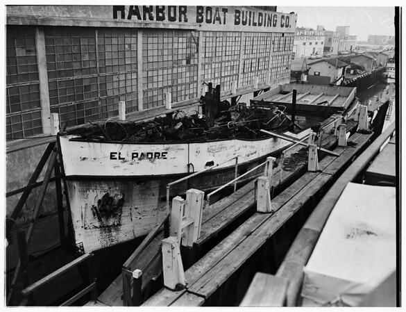 Burned fishing boat, 1951