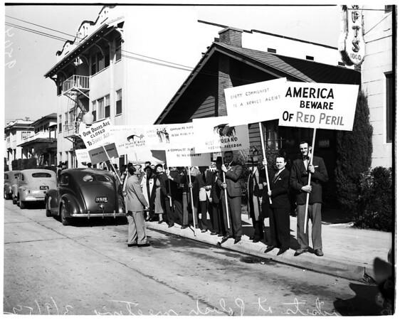 Pickets at Polish meeting ...Echo Park Women's Club, 1952