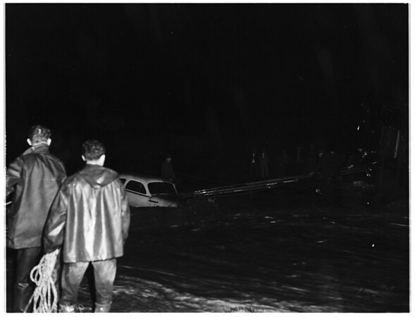 Rescue ...auto swamped in Edison Wash, near Chino ...rescue affected by fire department, 1951