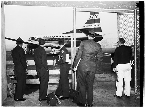 Stranded G.I.s at Lockheed Airport in Burbank, 1951