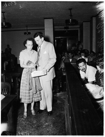 Mrs. Patricia Moore arraigned in murder case, 1952.