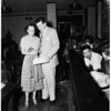 Mrs. Patricia Moore arraigned in murder case, 1952.