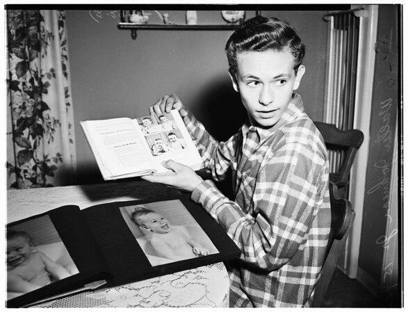 School boy's picture in textbook, 1952