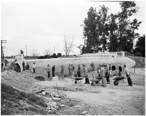 Unfinished bridge, Monrovia, 1952