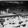 Billy Graham addressing rally at American Legion Stadium, 1951