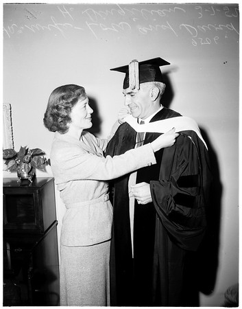 Receives Doctor of Laws from Chapman College, 1952