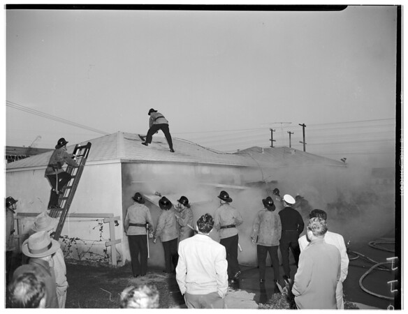 Garage burns...wind blows power line down...3770 Tilden Avenue, West Los Angeles, 1952