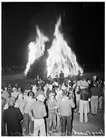 Christmas trees in bonfire, 1952