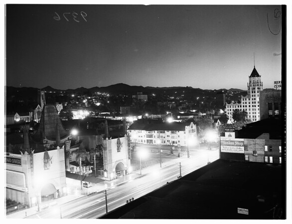 View of (Non-existent) Atom Bomb blast seen in Los Angeles, 1951