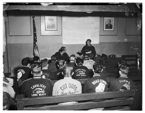 Car Clubs hold court for erring members in Squad Room of Long Beach Police Department, 1951