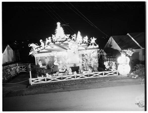 Christmas decorated house in Manhattan Beach, 1951