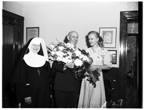 Flower Week and Queen of Angels Hospital anniversary, 1951