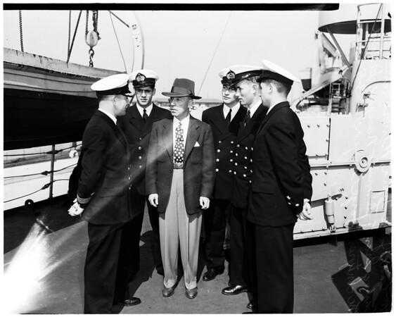 """Chilean ship arrival ...""""Presidente Pinto"""", 1952"""