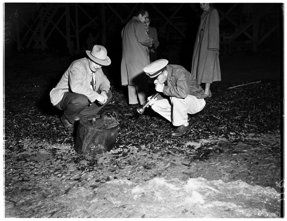Possible mine or depth charge found on Malibu beach, 1952