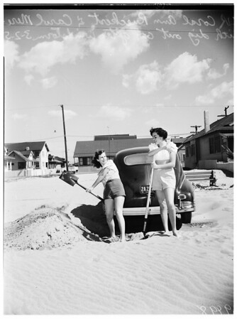 Sand drifts after windstorm, 1952
