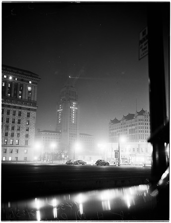 Christmas Lights in City Hall Forming Cross in Windows, 1951